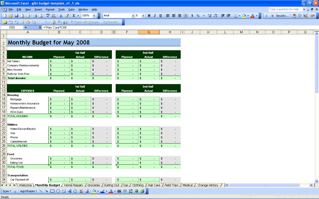 free household budget templates for excel