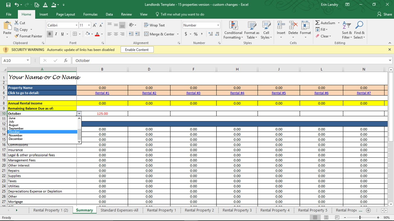 free landlord expenses spreadsheet templates download