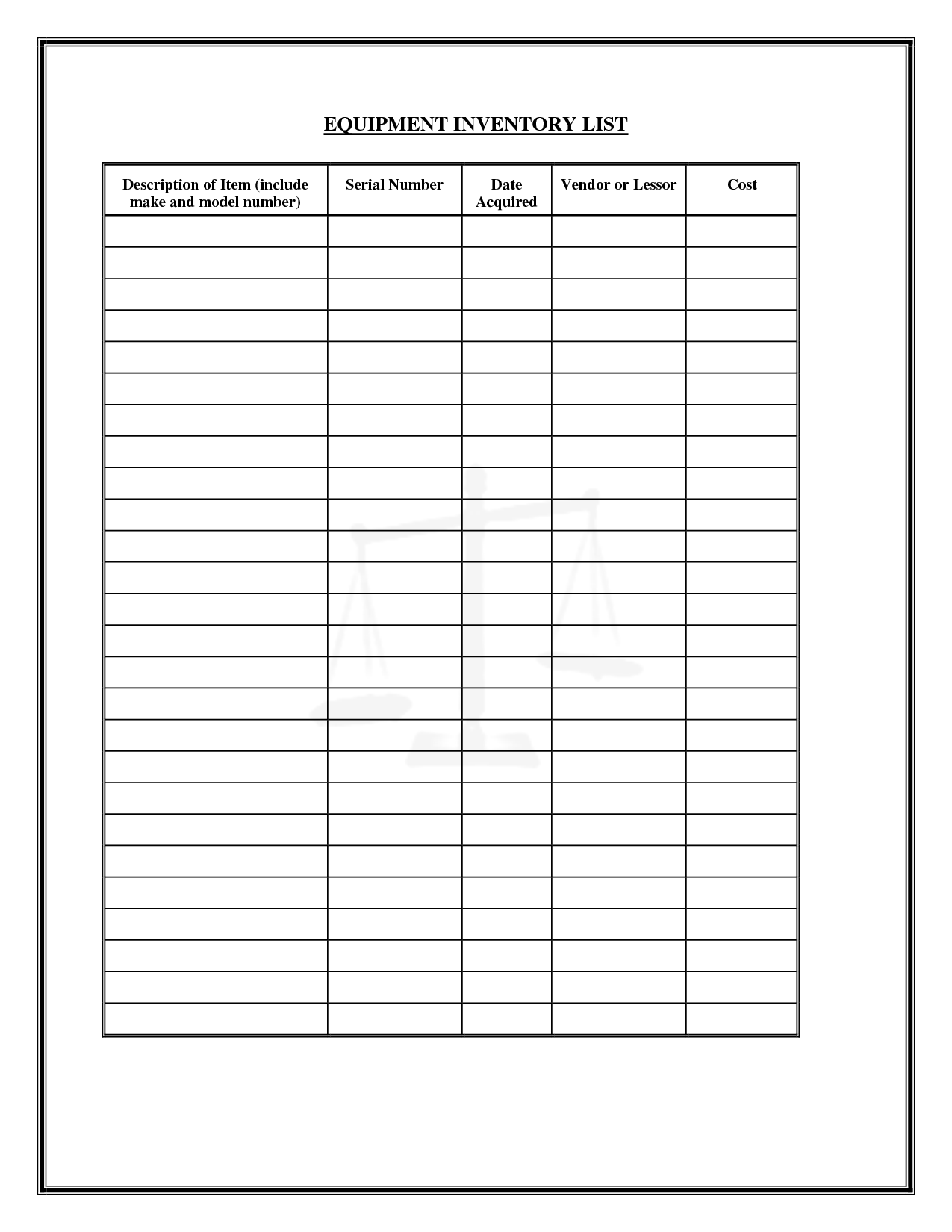Free Liquor Inventory Spreadsheet  Free Inventory Sheets To Print