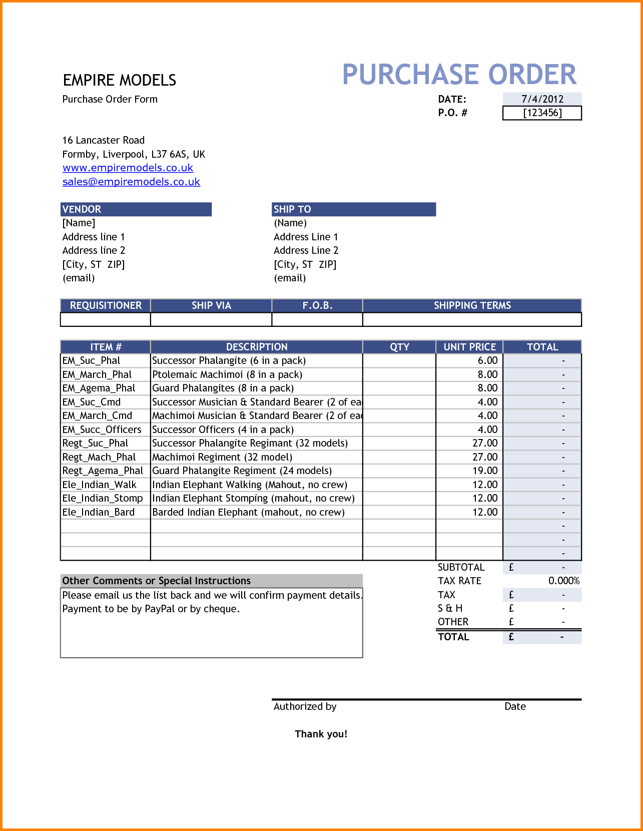 free order tracking excel template