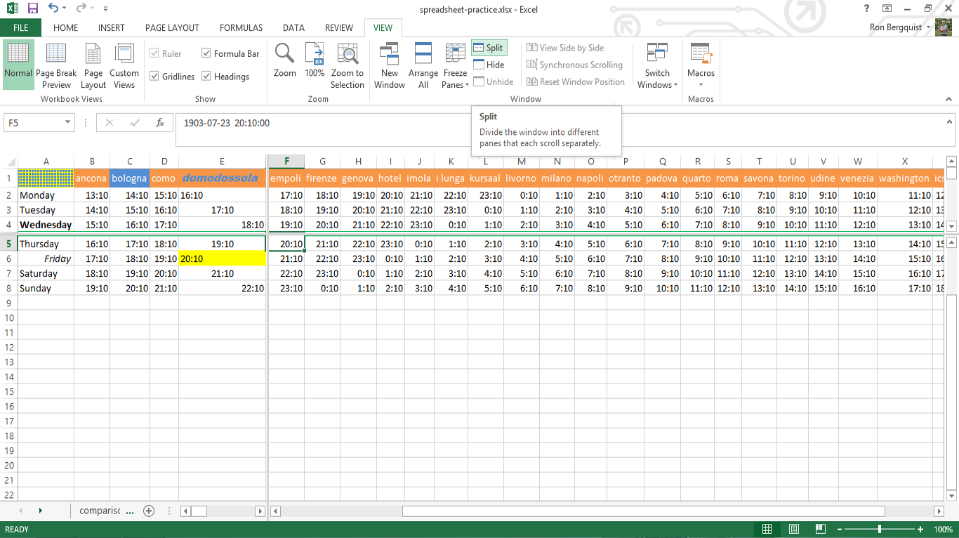 free parts of spreadsheet in excel