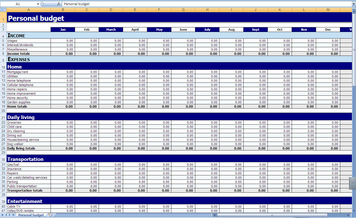 free templates spreadsheet for monthly bills