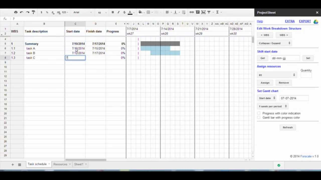 google sheet gantt chart template