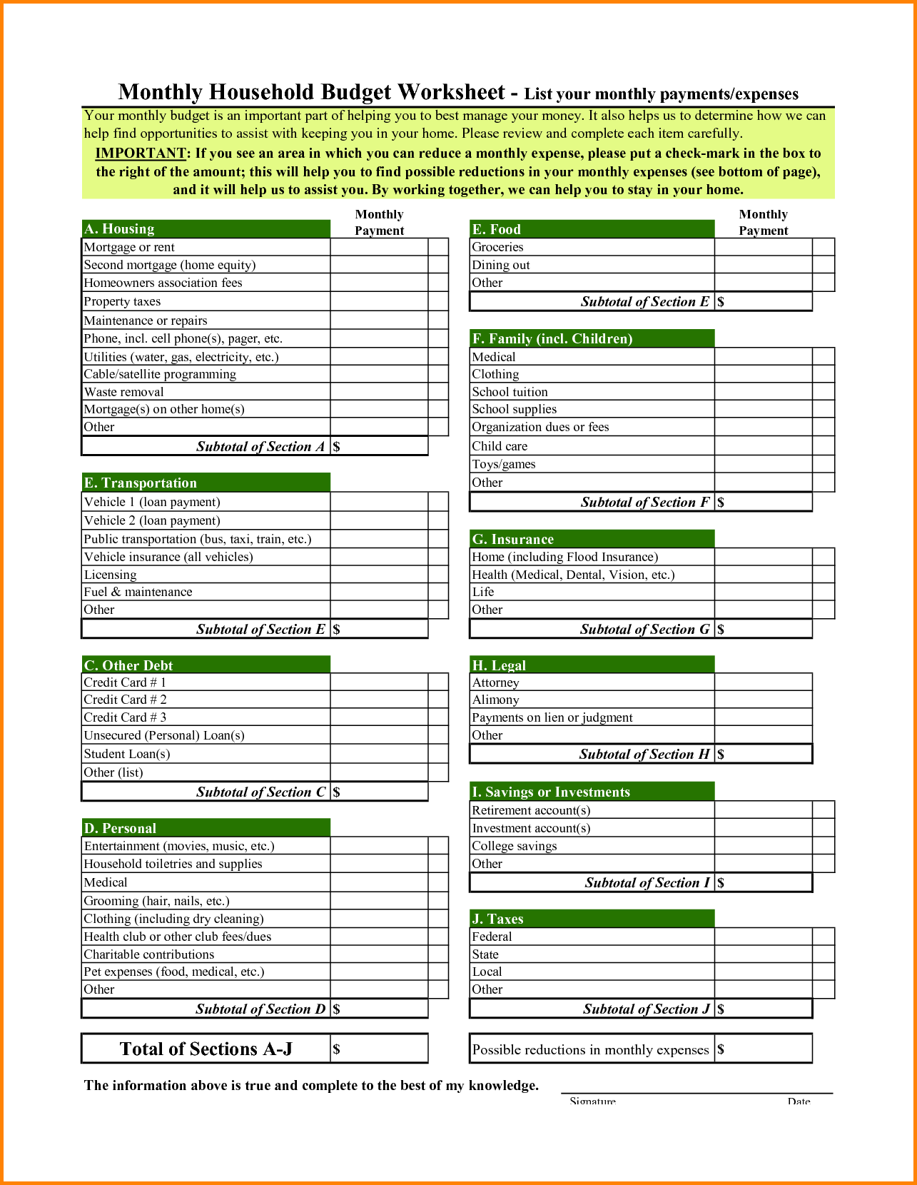 household budget spreadsheet template download