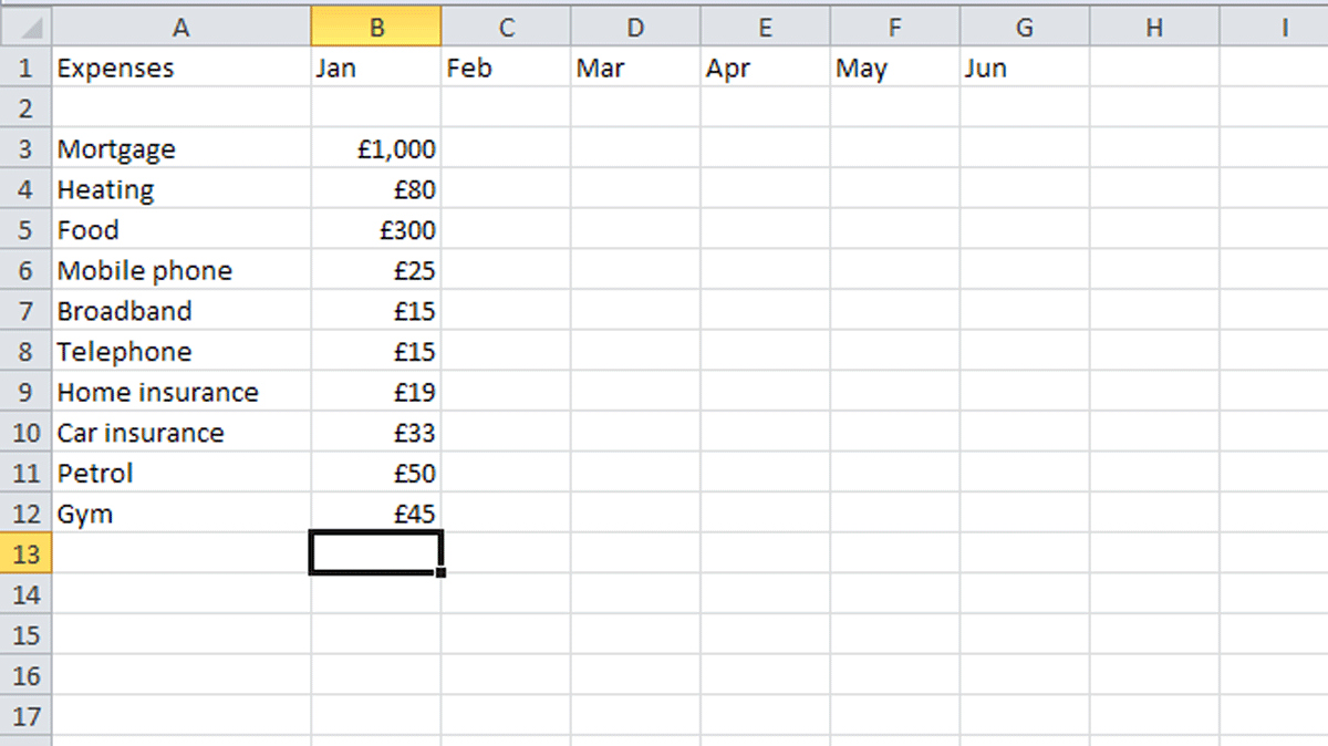household budget template excel
