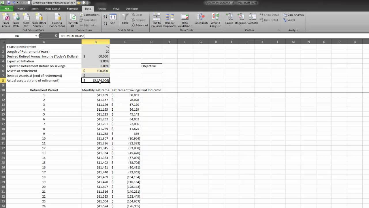 how long will retirement savings last spreadsheet