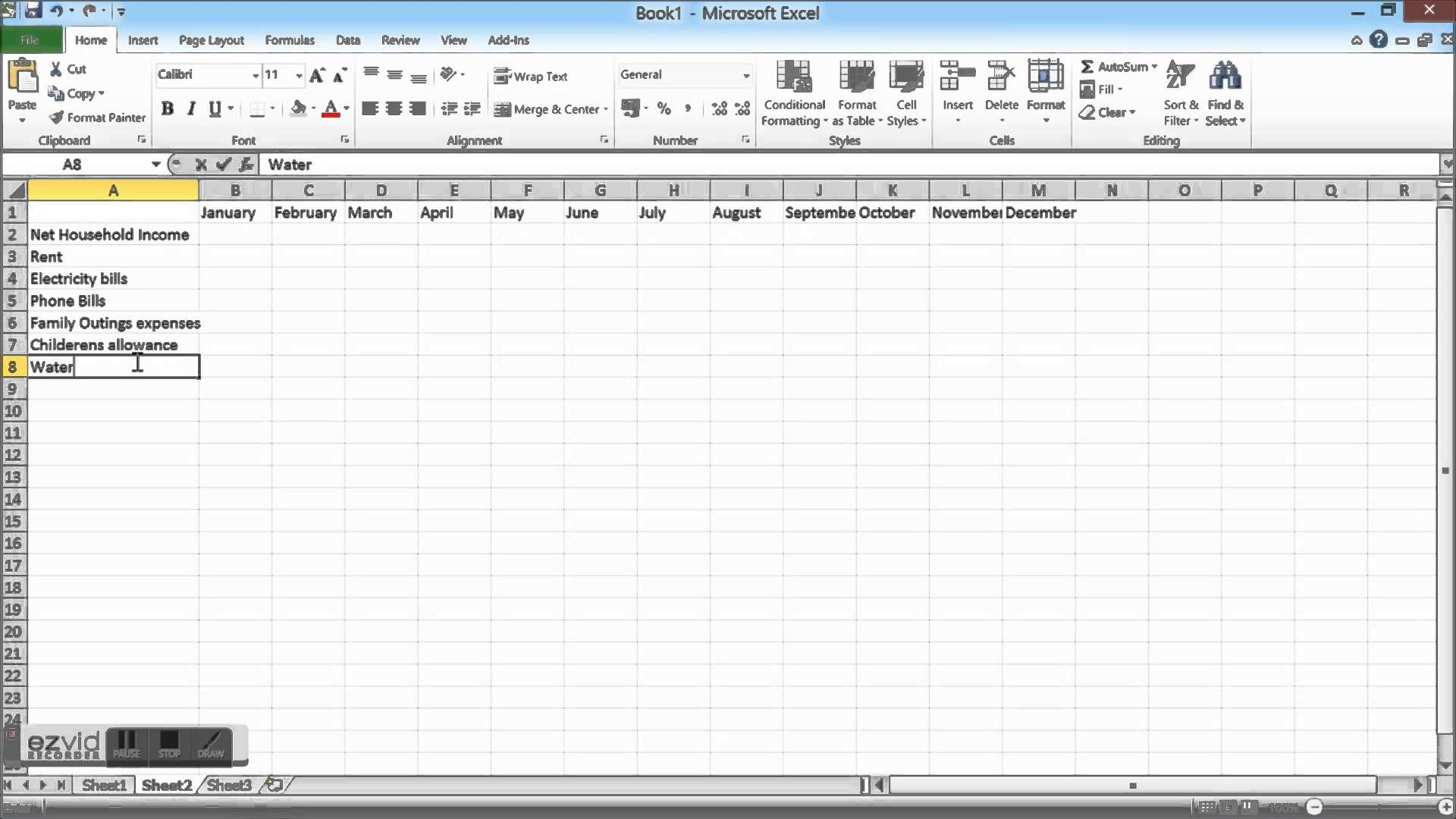 create a monthly budget in excel