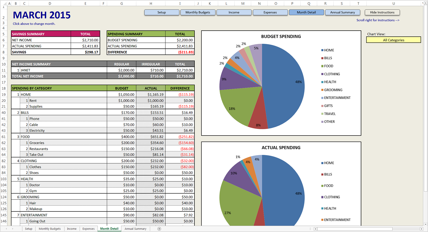 how to create a personal budget spreadsheet in excel