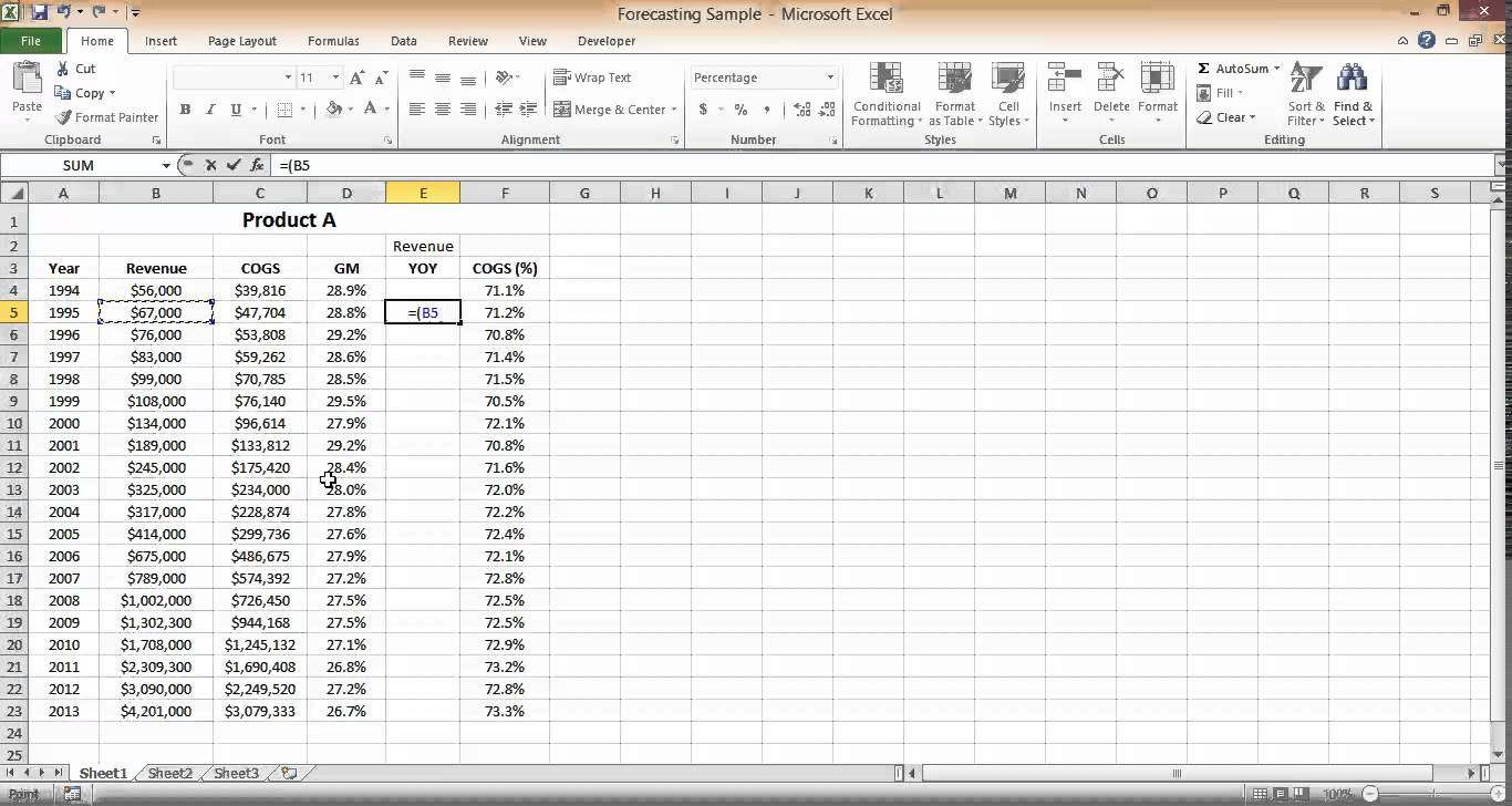 revenue projections in excel