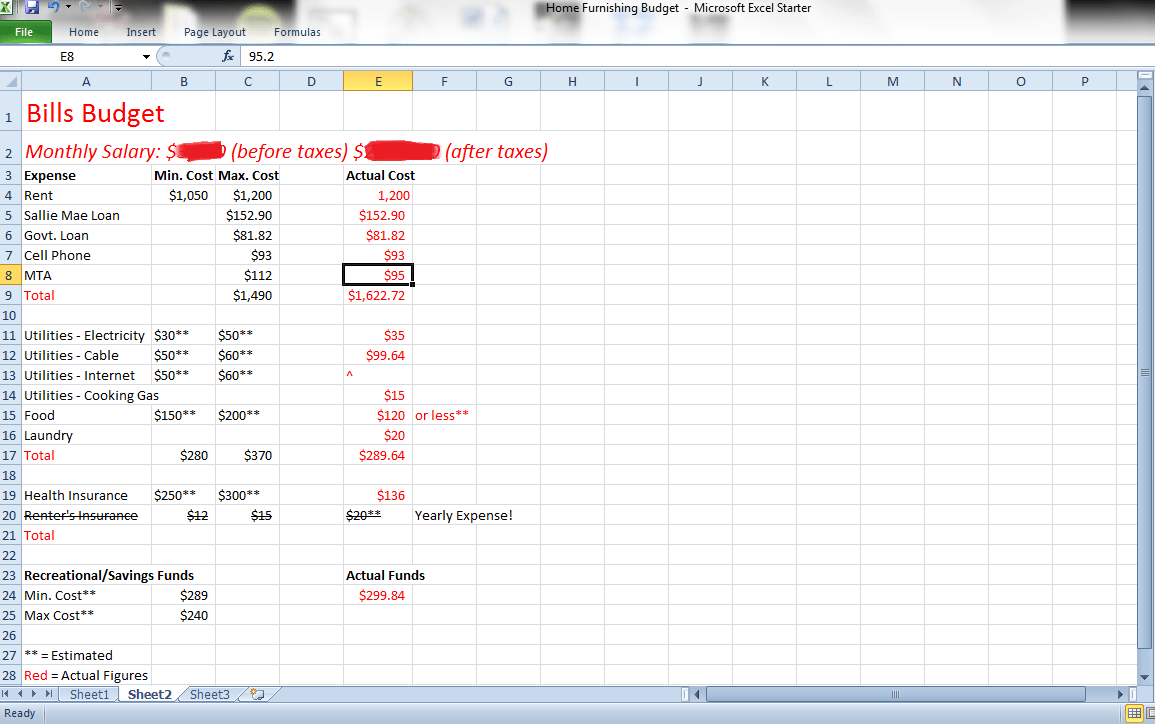 how to keep track of bills spreadsheet