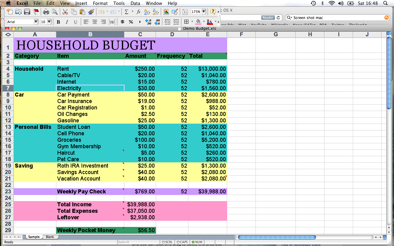 how to make a home budget spreadsheet excel