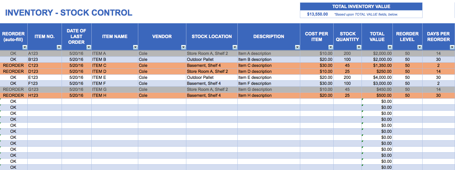 how to make a simple inventory spreadsheets