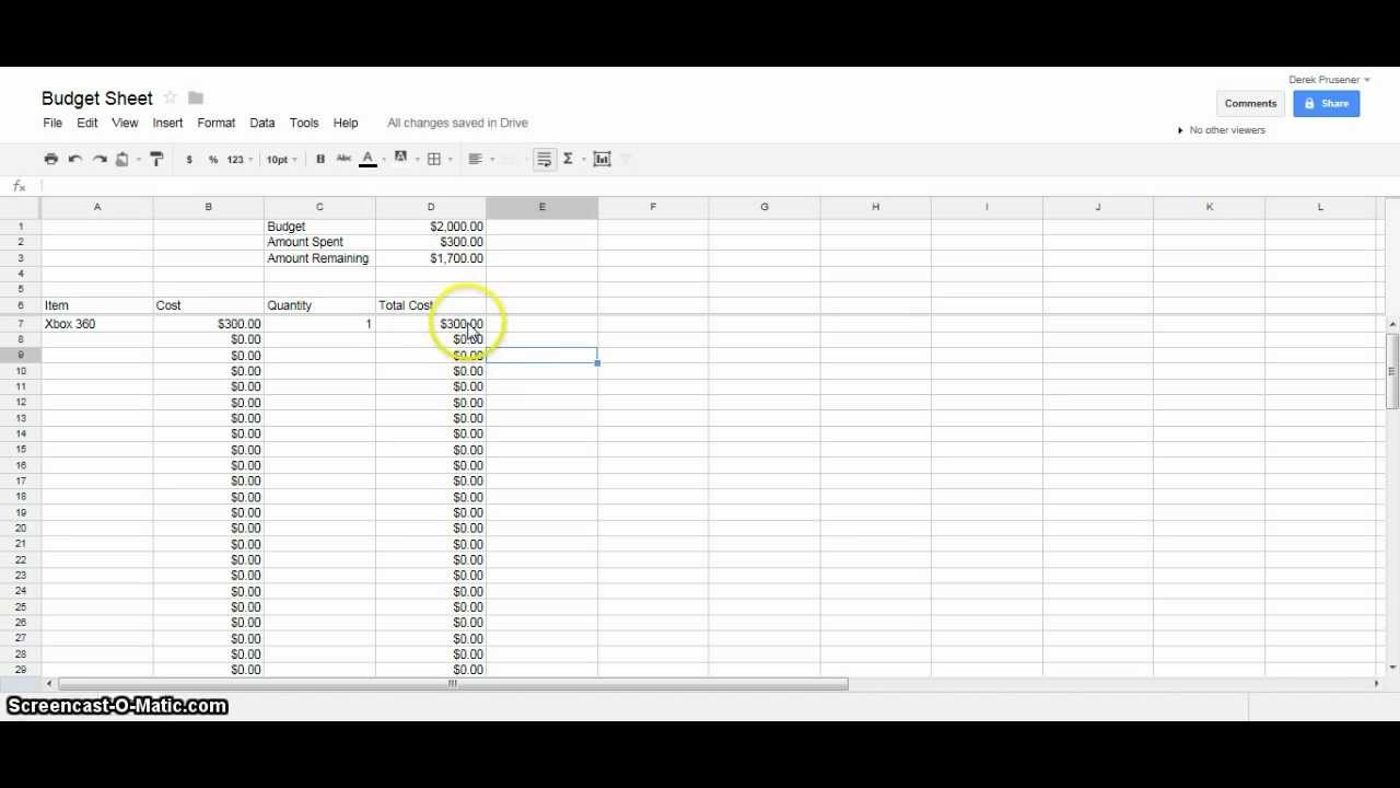 how to make an excel sheet on google docs