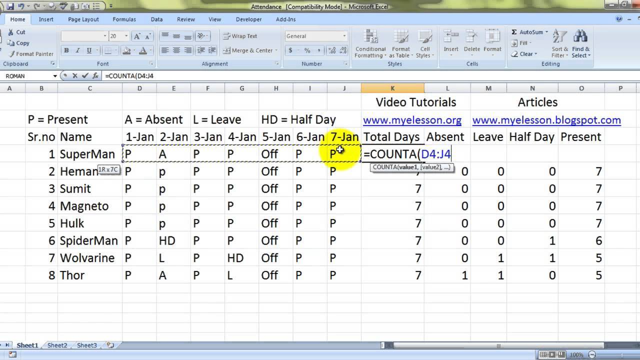 how to make attendance sheet in excel with formula