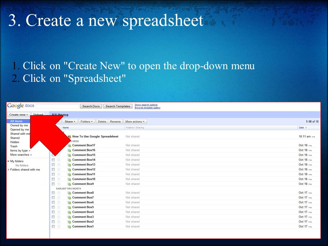 how to use a spreadsheet in google docs