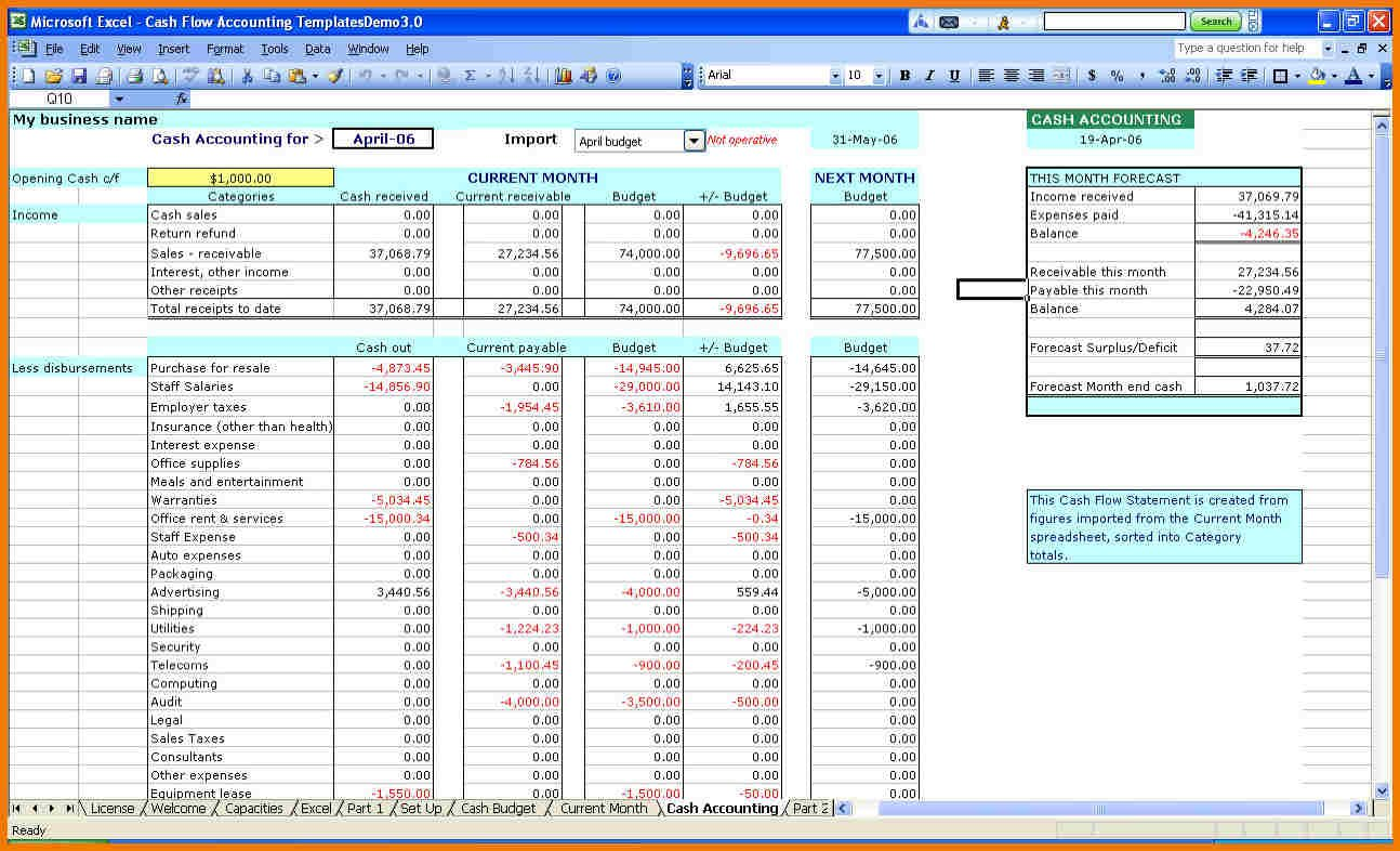 income and expenses spreadsheet template for small business