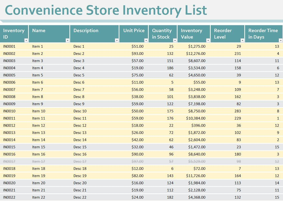 open office inventory templates