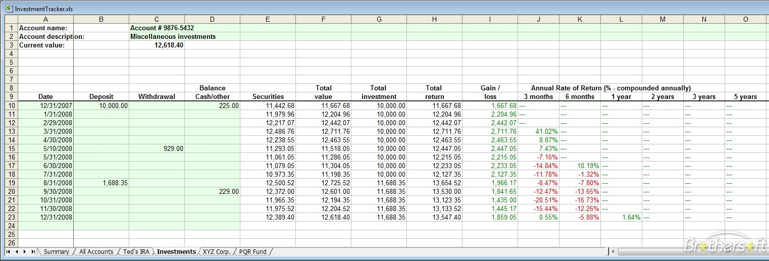 investment tracking spreadsheet free