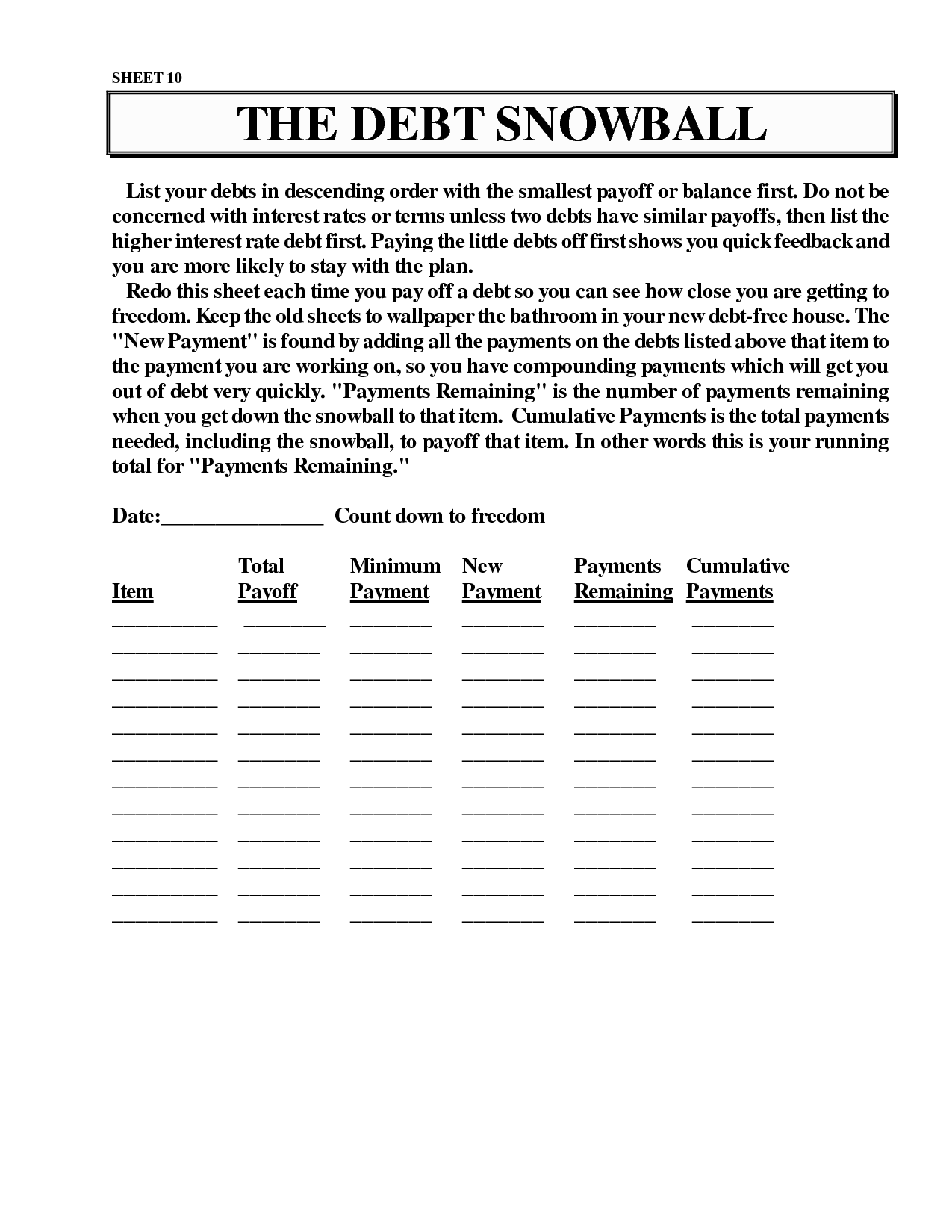 Worksheets Snowball Debt Worksheet dave ramsey snowball debt printable jianbochen memberpro co printable