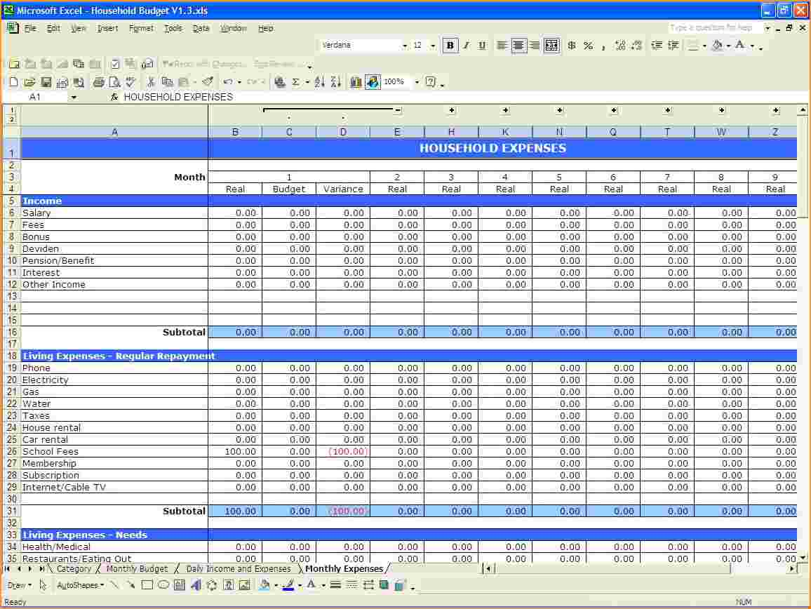 Excel Spreadsheet For Monthly Expenses