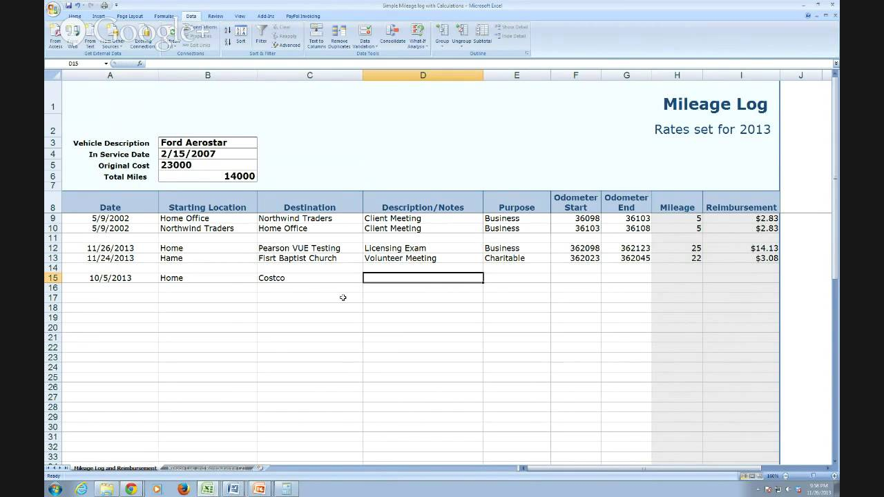 mileage spreadsheet for irs
