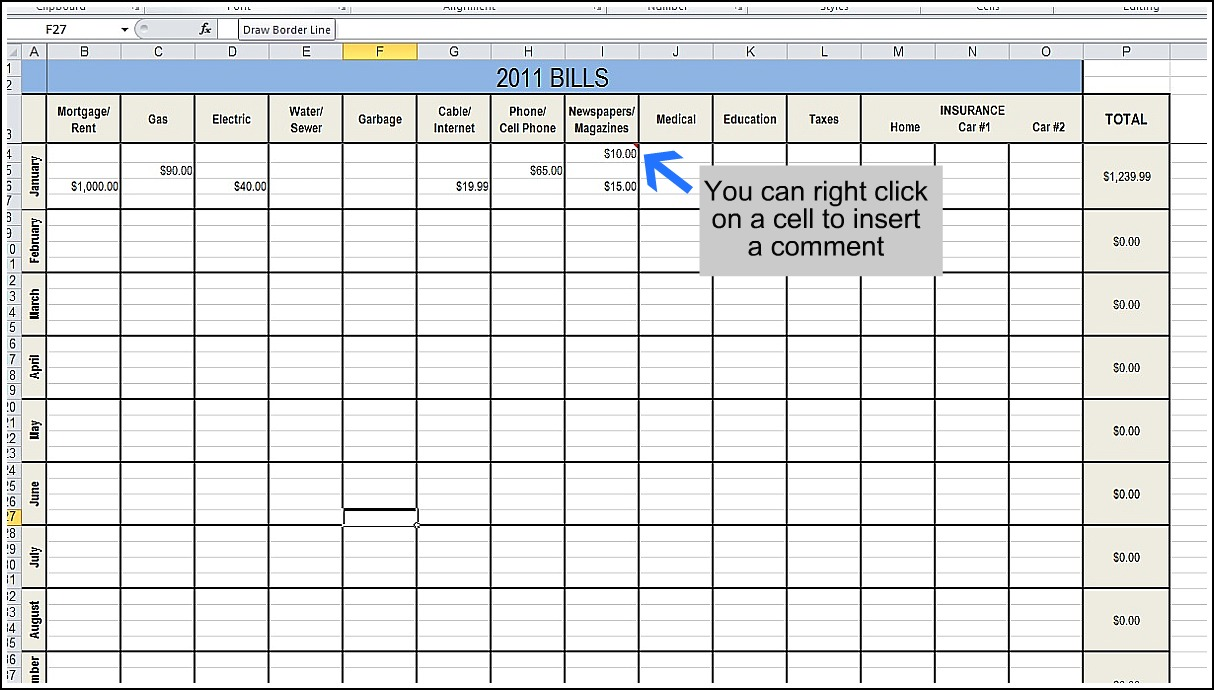 template for paying monthly bills