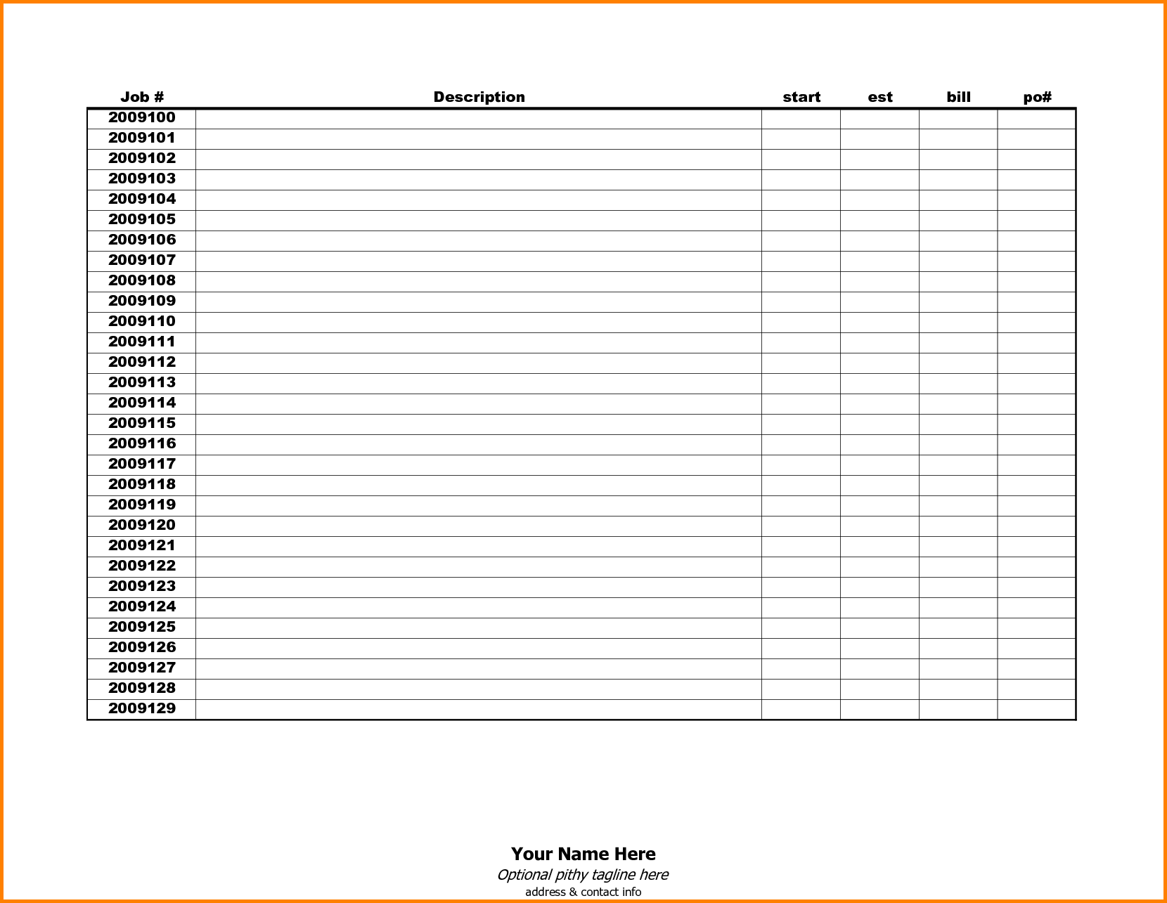 monthly bill tracker printable