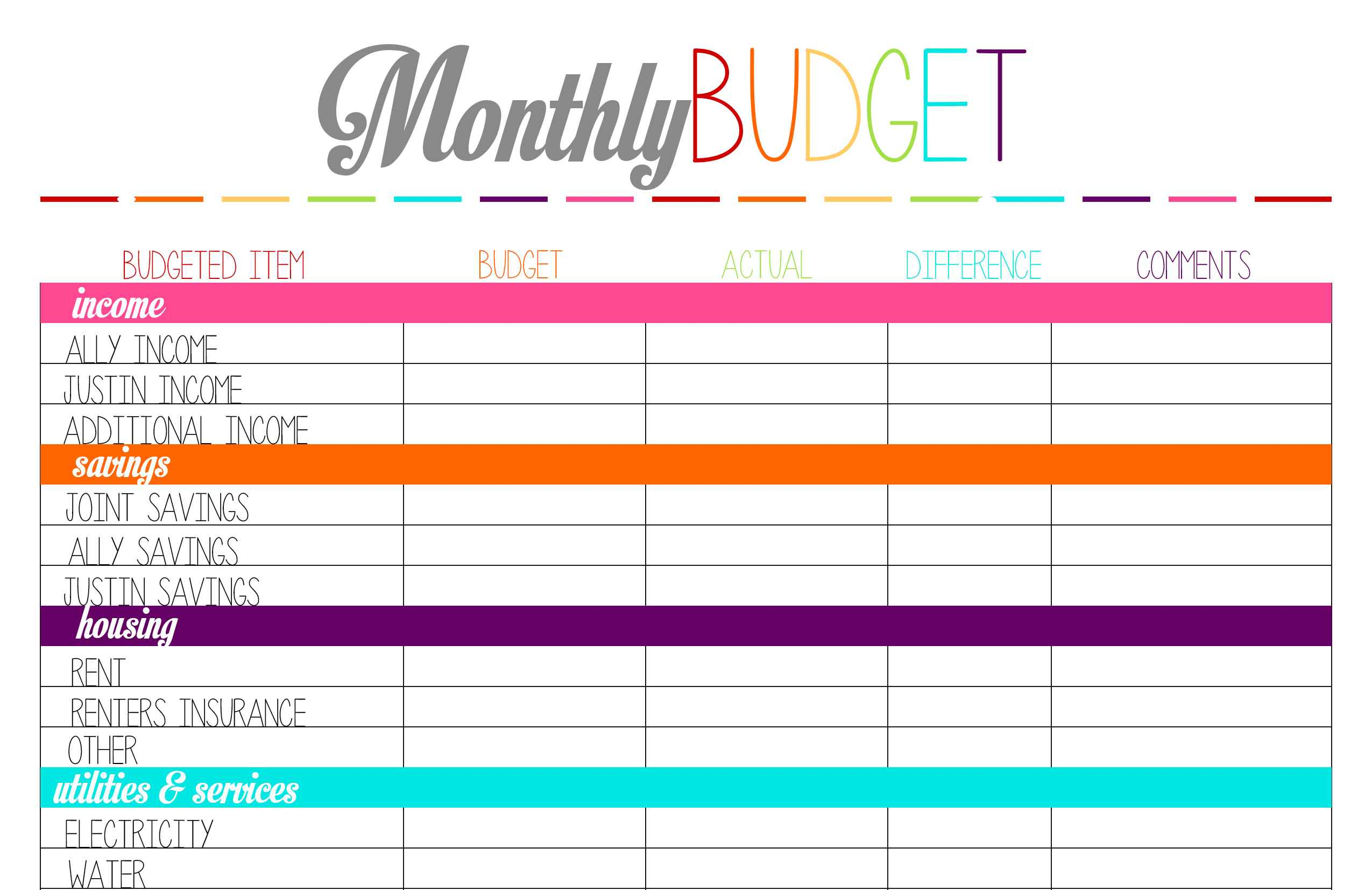 monthly budgeting worksheets