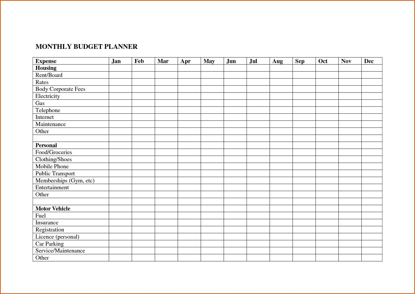 monthly expenses spreadsheet template free