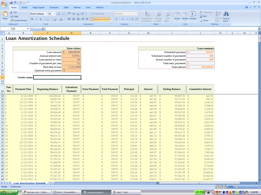 loan amortization schedule with extra payments excel