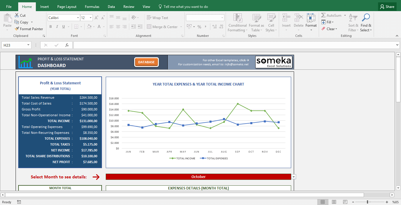 p and l template excel