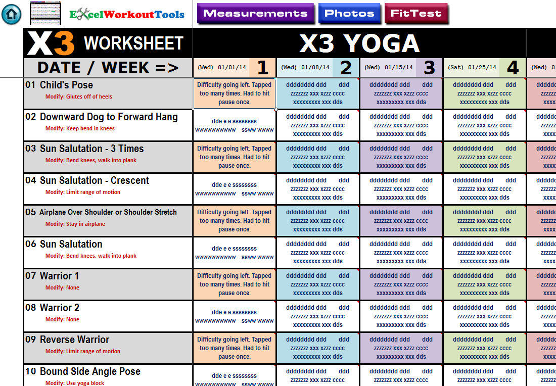 workout excel sheet