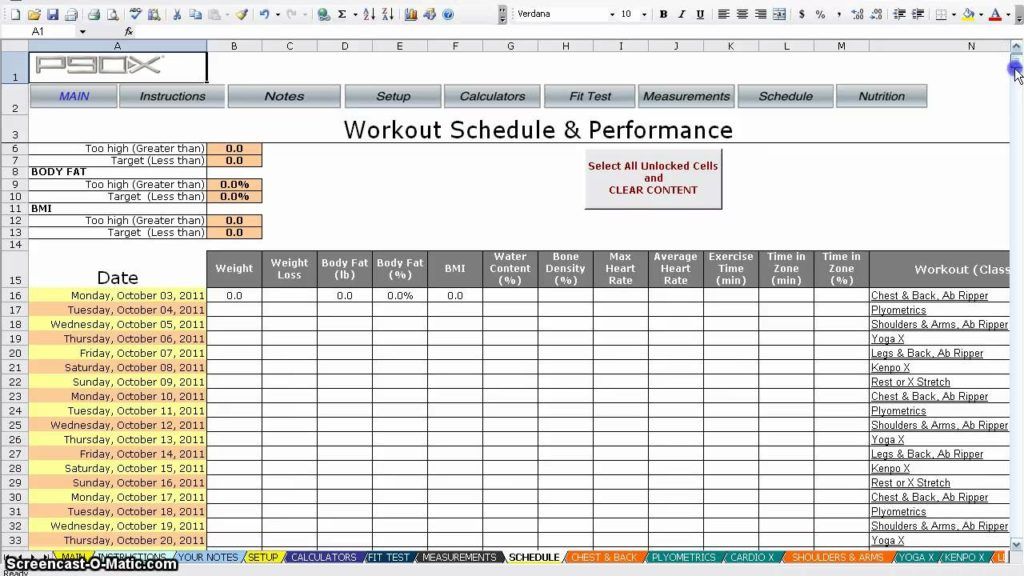 P90x Workout Schedule Print