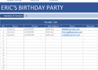party planning spreadsheet template