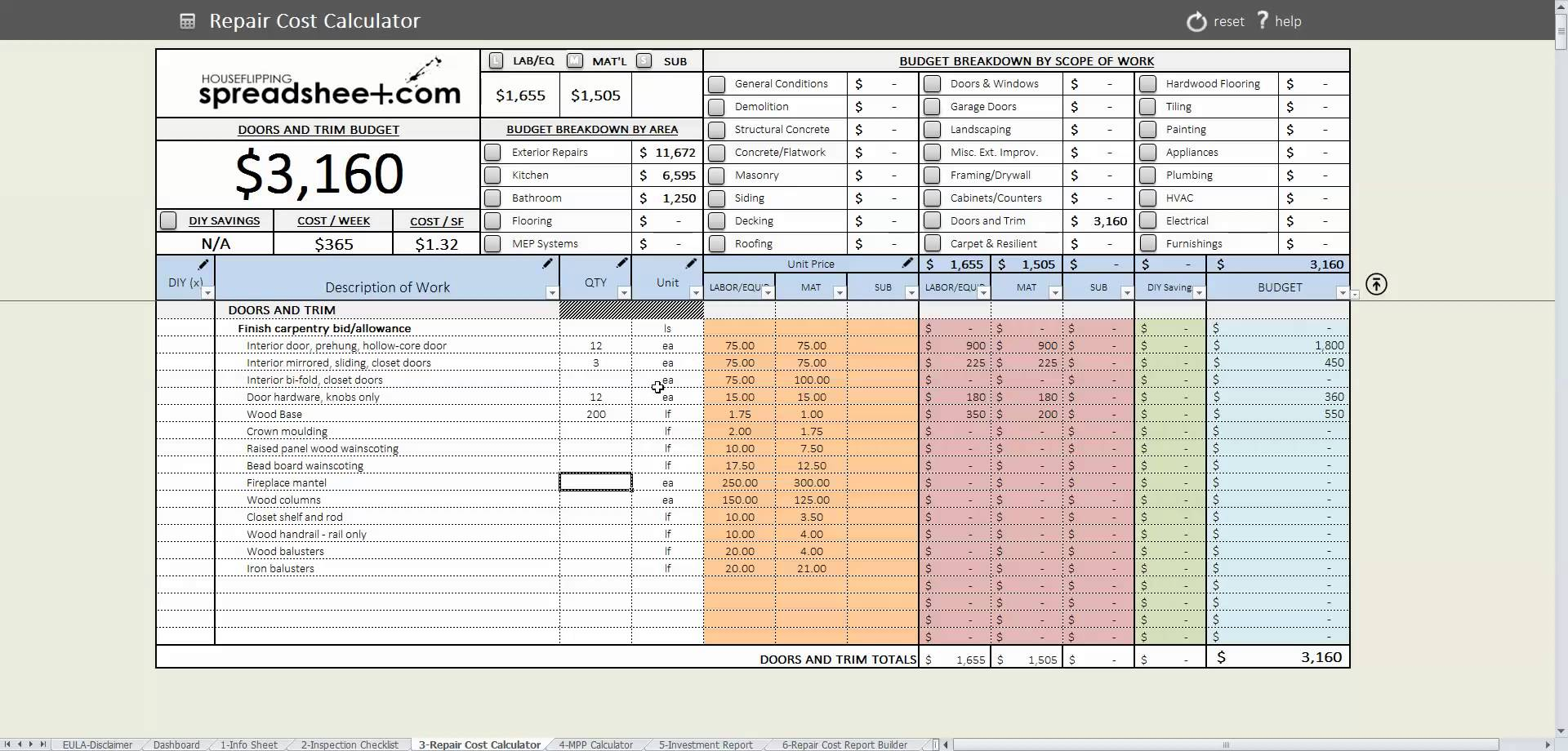 probate accounting spreadsheet