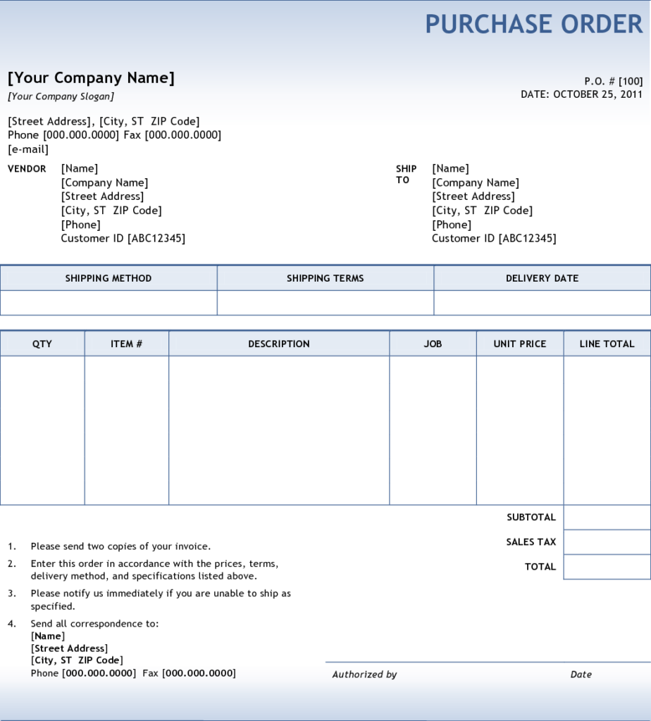 purchase order tracking excel template