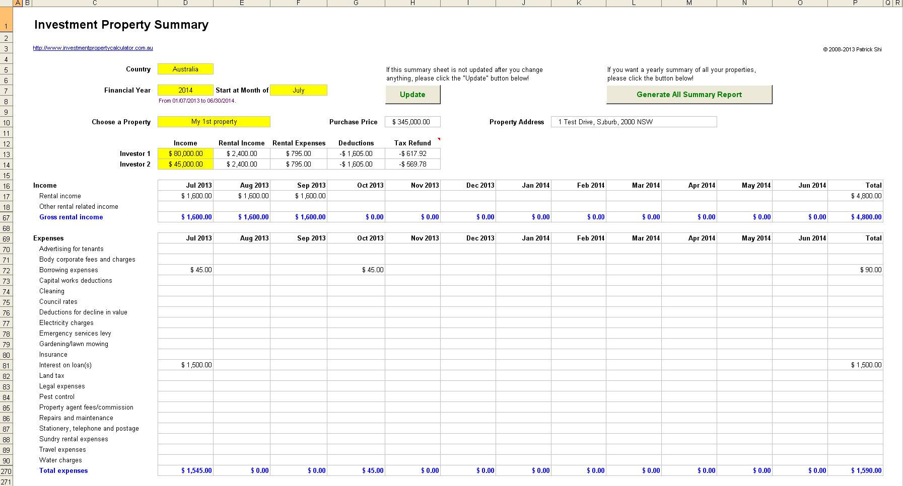 real estate investment spreadsheet excel