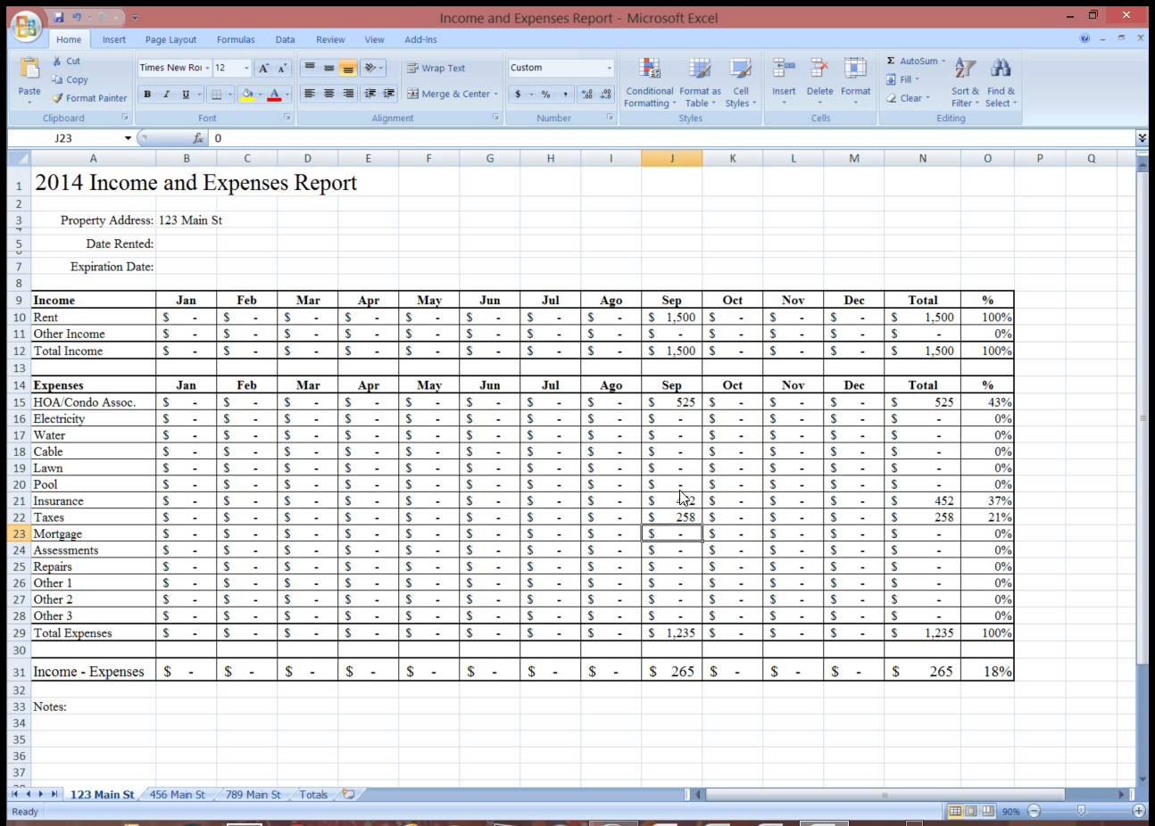 rental property expense tracking spreadsheet