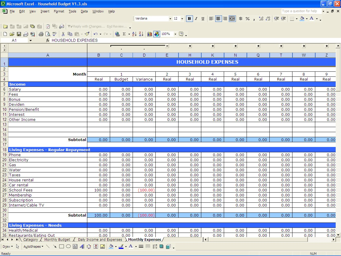 Sample Of Spreadsheet Of Expenses – Daily Budget Worksheet