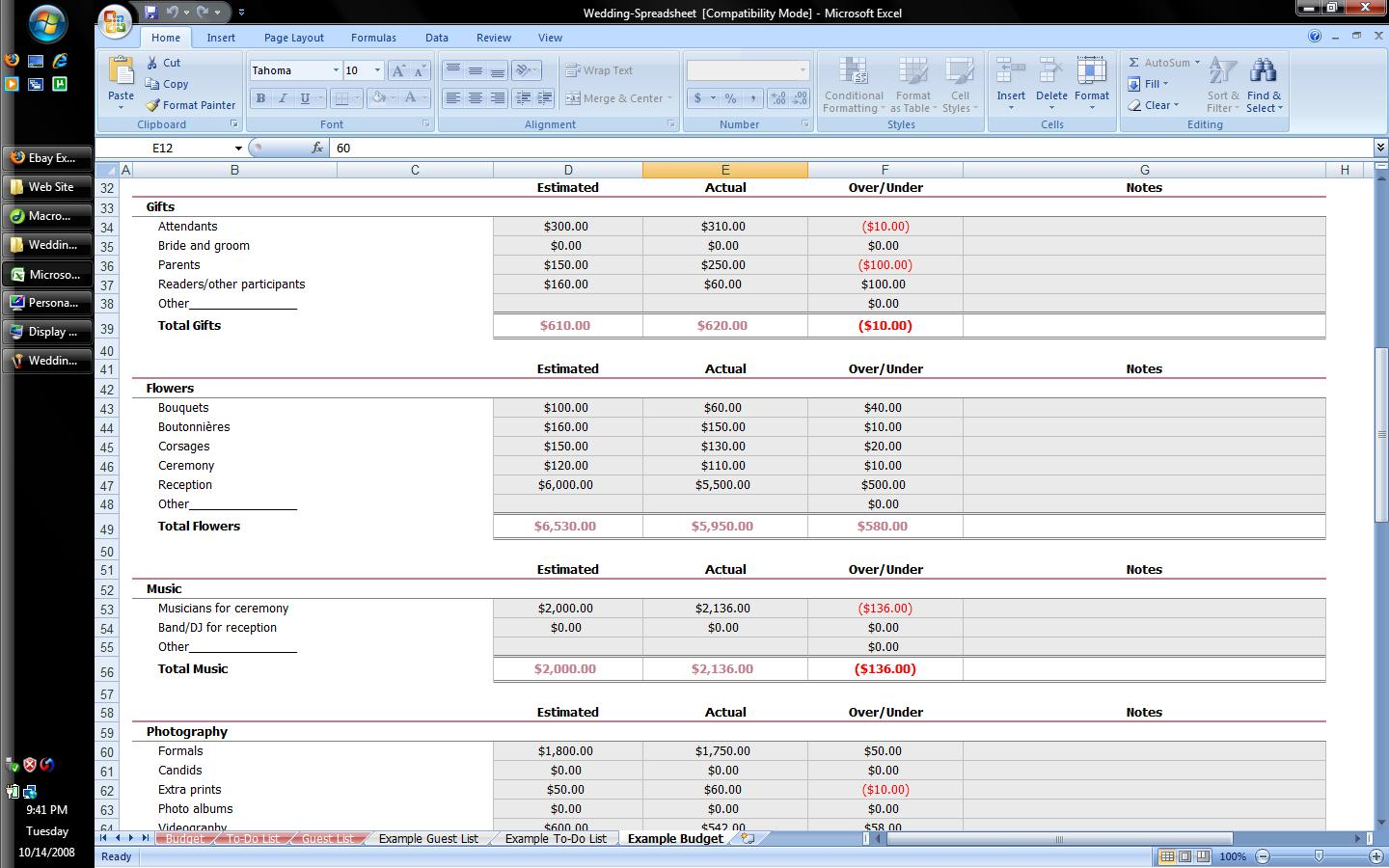 Example Spreadsheets in Excel