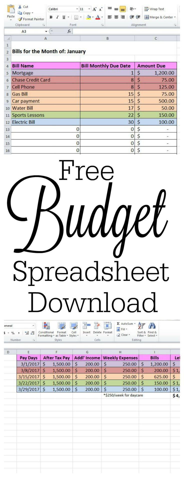 simple budget spreadsheet