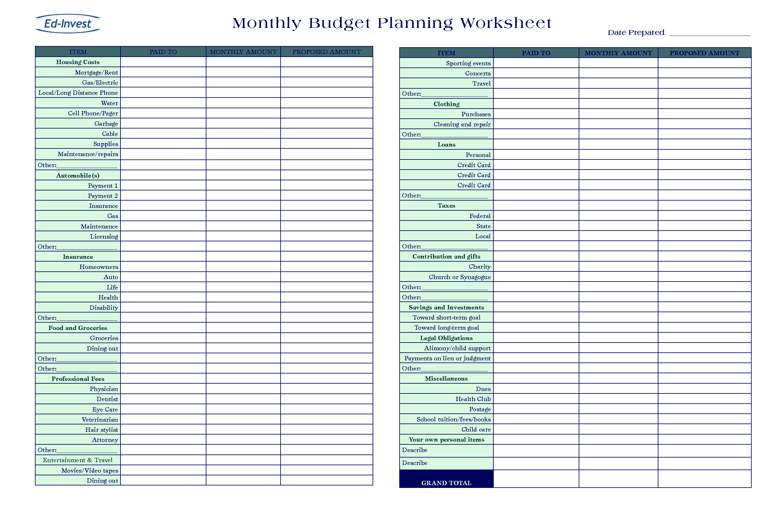 Free business budget worksheet militaryalicious free business budget worksheet accmission Images
