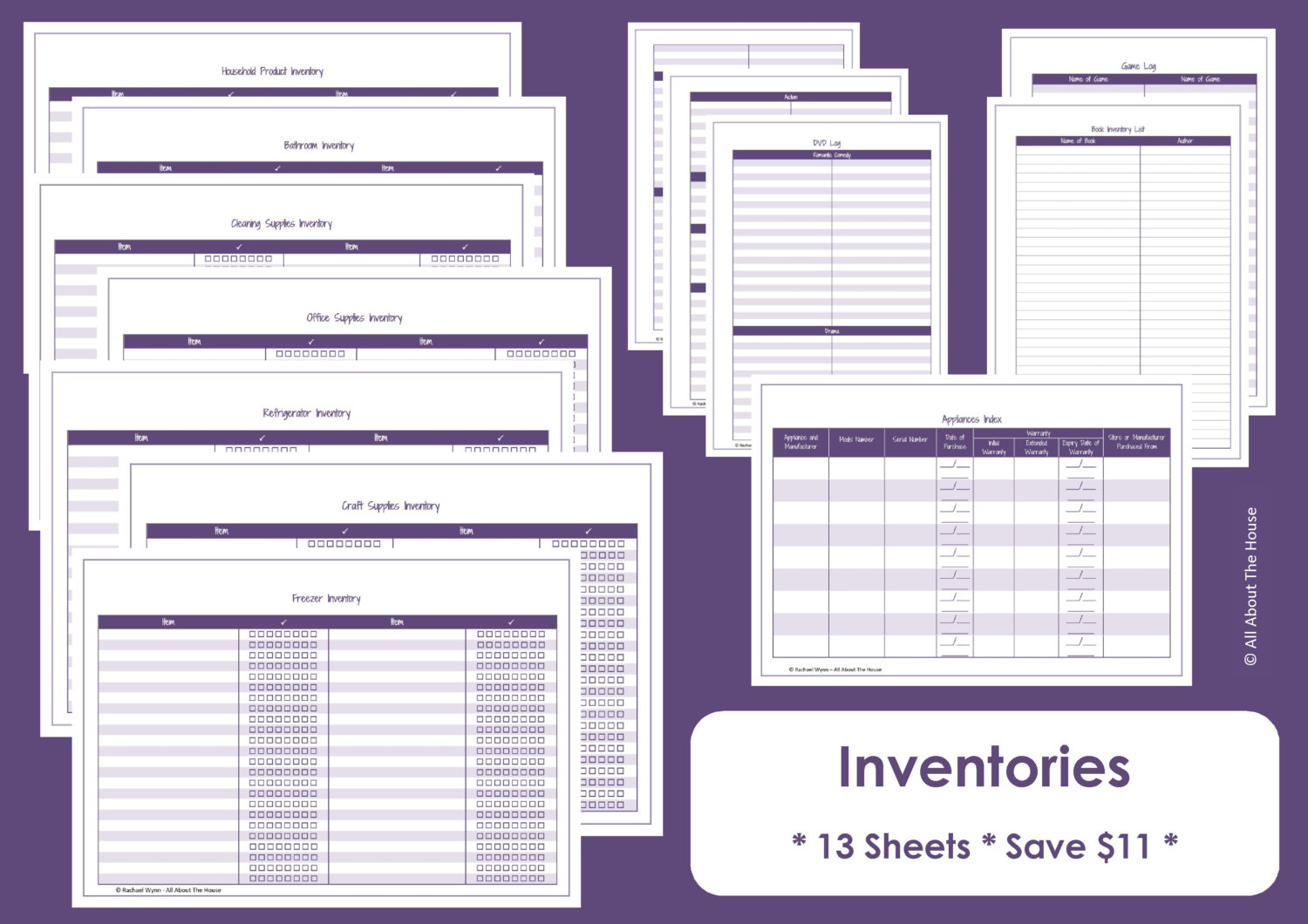 home inventory spreadsheet