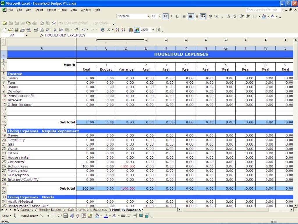 spreadsheet for business expenses free