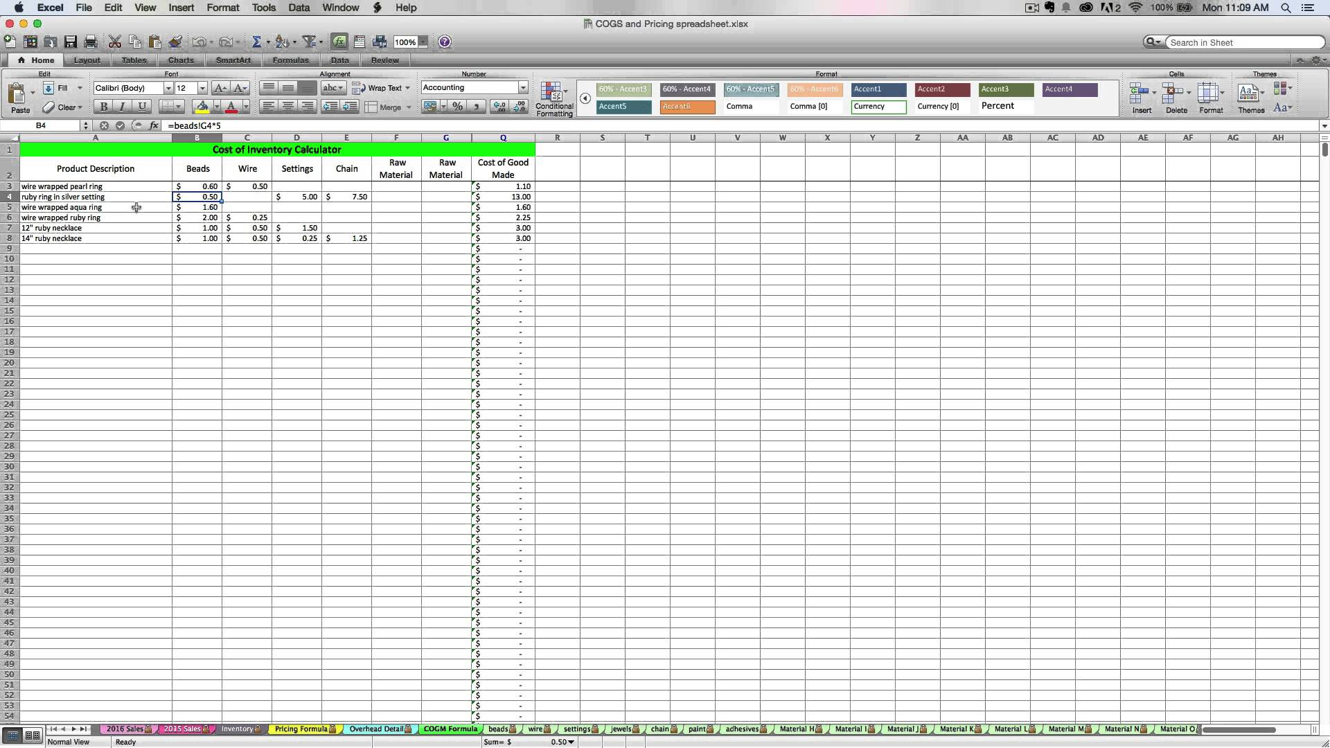 stock inventory excel
