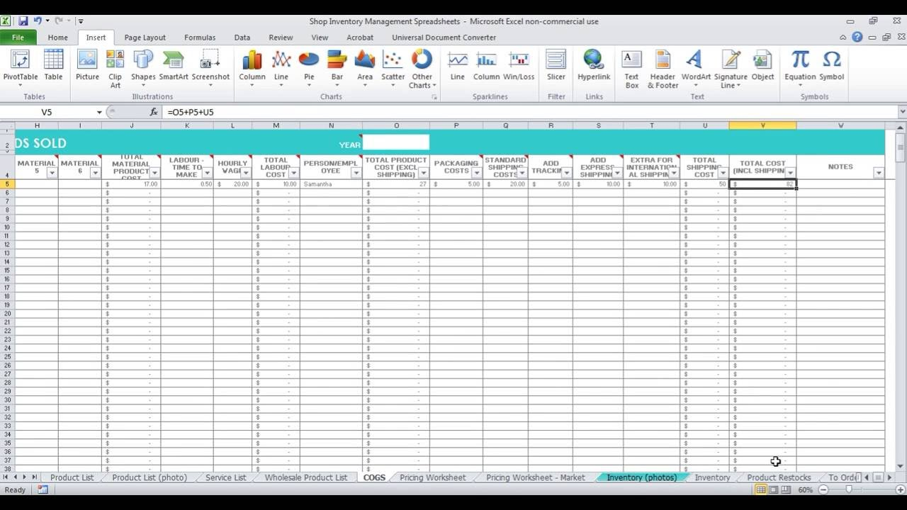 stock management in excel sheet