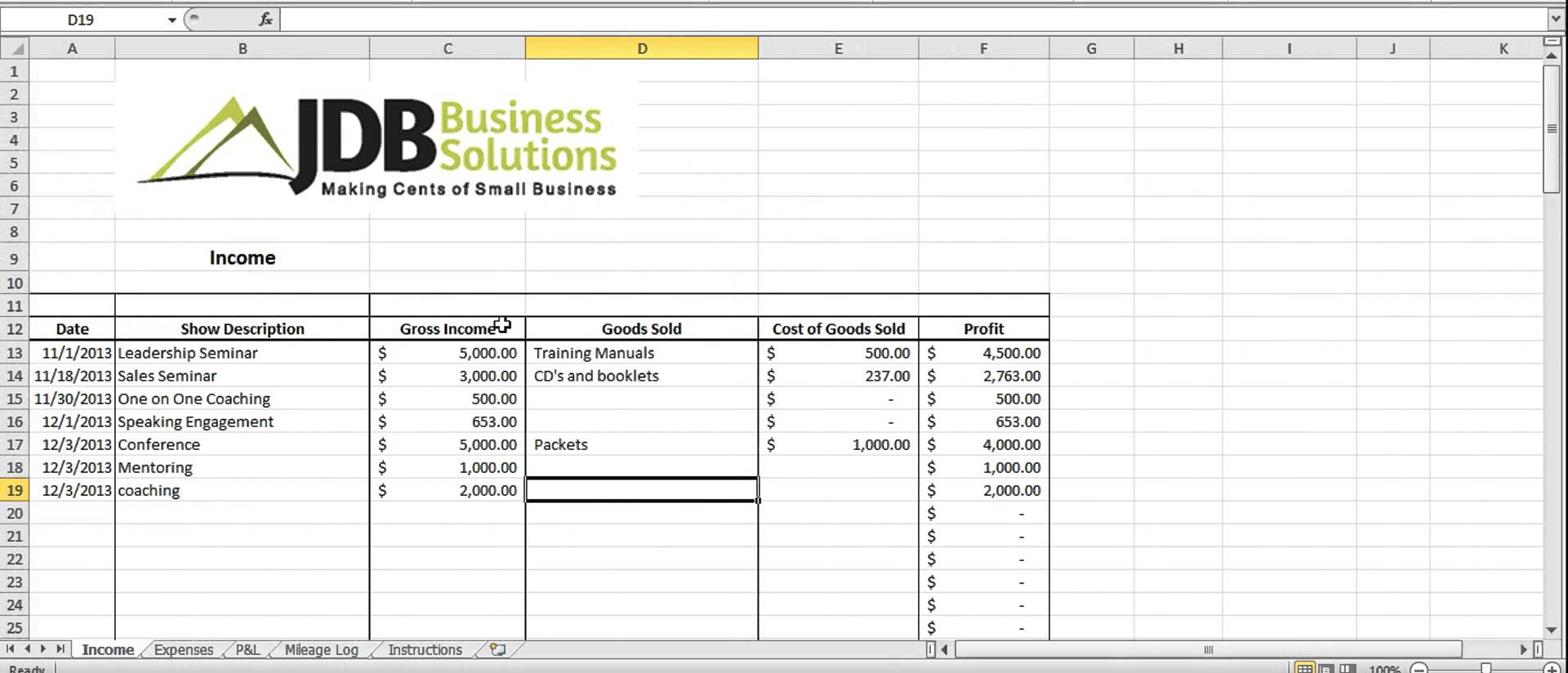 tax template for small business