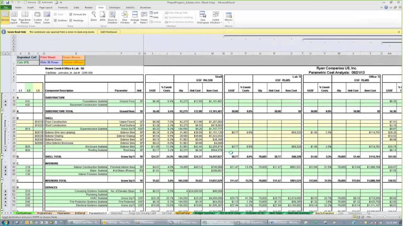 estimating spreadsheet template