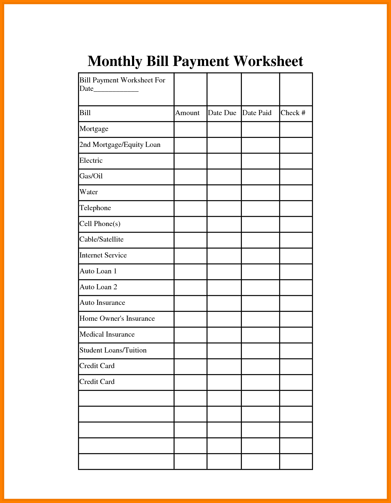 monthly bill spreadsheet