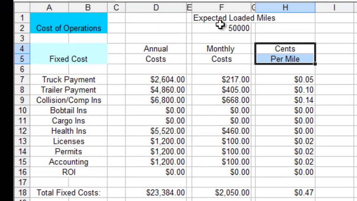 trucking spreadsheet download